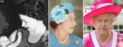 The Queen wearing Cullinan V Brooch for Prince Andrew's christening in 1960 (left), in Tuvalu in 1982 (middle), and to Royal Ascot in 2009 (right)