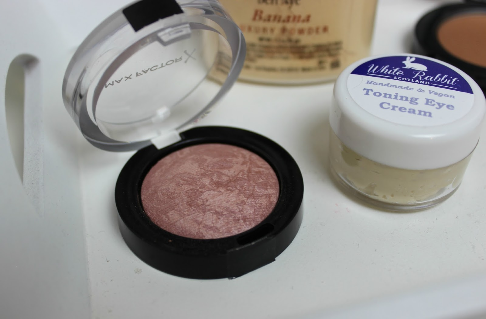 A picture of Max Factor Creme Puff Blush and White Rabbit Skincare Toning Eye Cream