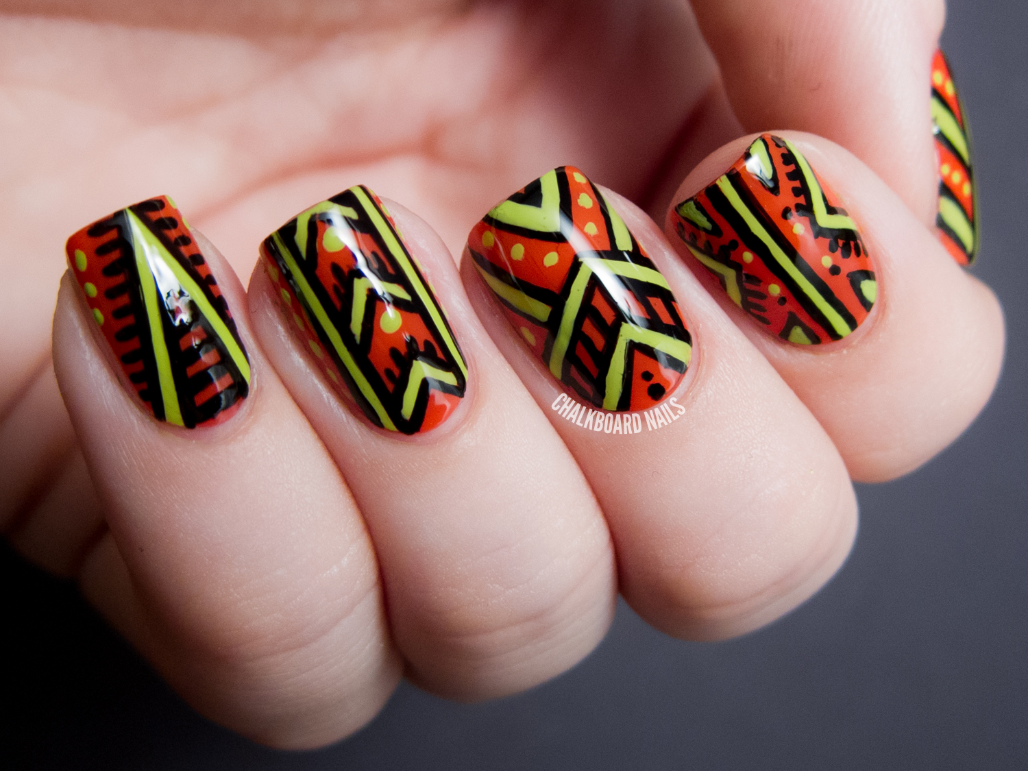 African Patterned - Nicole by OPI Tink Nail Art | Chalkboard Nails ...