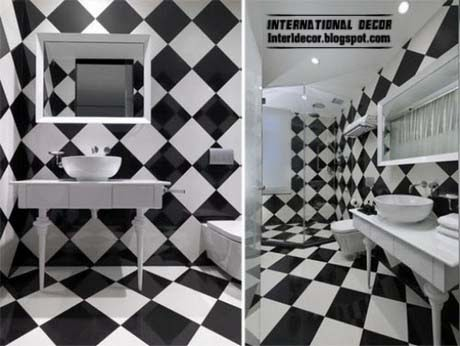 Chess Design Of Black And White Tiles For Bathroom And Toilet