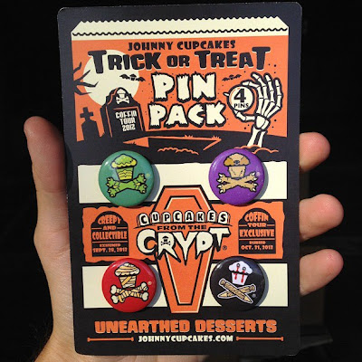 """Johnny Cupcakes 2012 Suitcase Tour """"Cupcakes From The Crypt"""" Exclusives - Trick or Treat Pin Pack"""