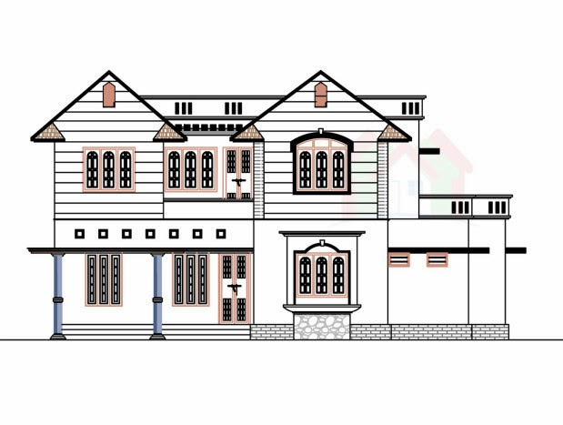 Duplex modern house front view with balcony ground and for Front view house plans