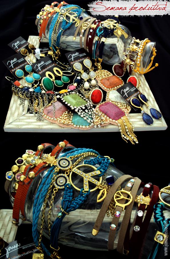Mix de pulseiras Jana acessórios paz coruja cristais olho grego couro joinville