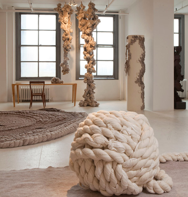 diseño textil alfombra  fieltro y lana Dana Barnes- wool design