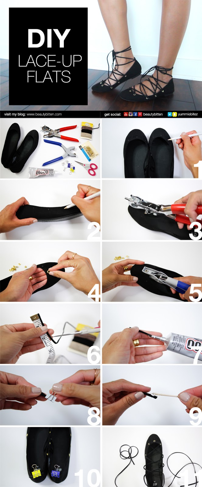 DIY Laced-Up Flats Instructions