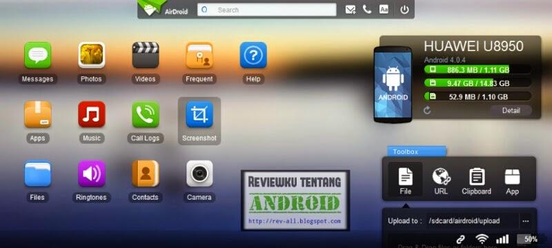 Tampilan halaman web di komputer aplikasi AIRDROID - androd di browser komputer via wifi atau internet (rev-all.blogspot.com)