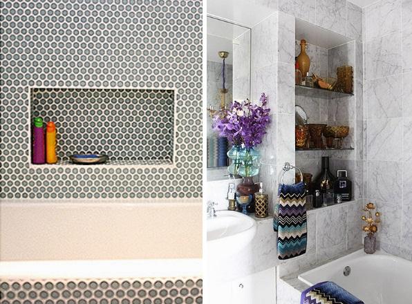 Decoração Nichos na Parede do Banheiro  Cores da Casa -> Nicho Para Banheiro Toalhas
