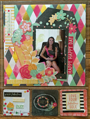 Happy Happy Day Misc.Me layout by Lynn Shokoples for BoBunny featuring the You're Invited Collection.