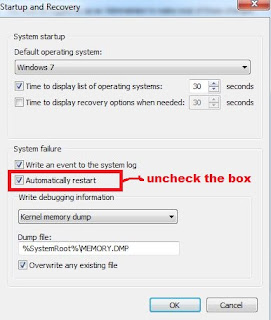 Disable Automatic restart in windows when System Failure occurs