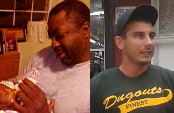Eric Garner (left) and the police officer who choked him to death, Daniel Pantaleo.