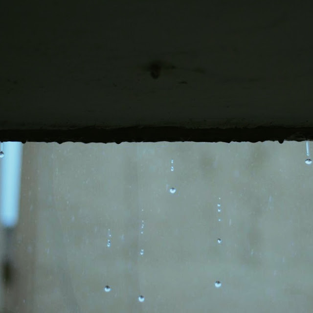 The first of the monsoon rains in Mumbai with raindrops in the concrete jungle