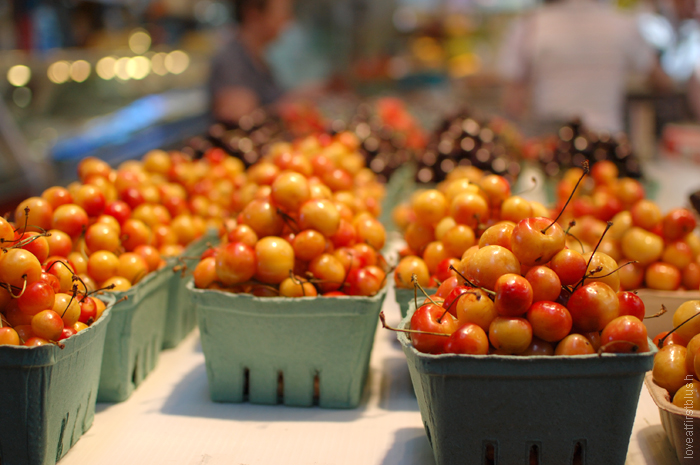 colorful cherries at the granville island market