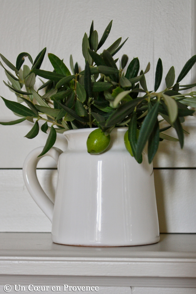 Some olive branches in a Côté Bastide pitcher