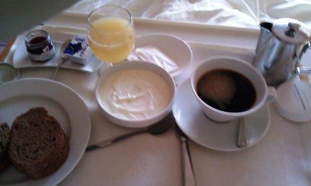 Breakfast: whole grain bread, yogurt, freshly squeezed grapefruit ...