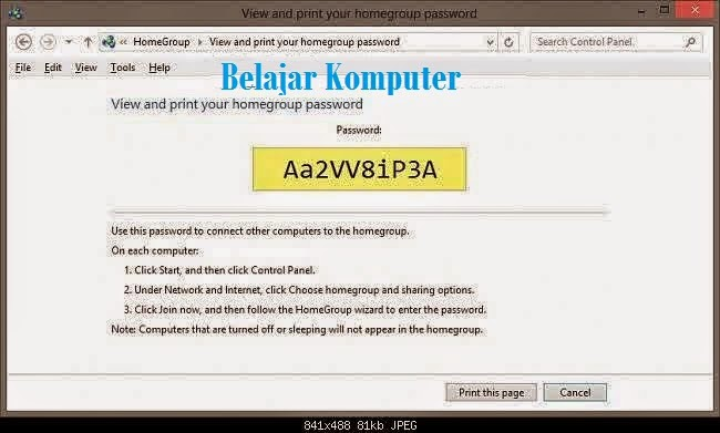 Cara Melihat Password HomeGroup di Windows 8.2