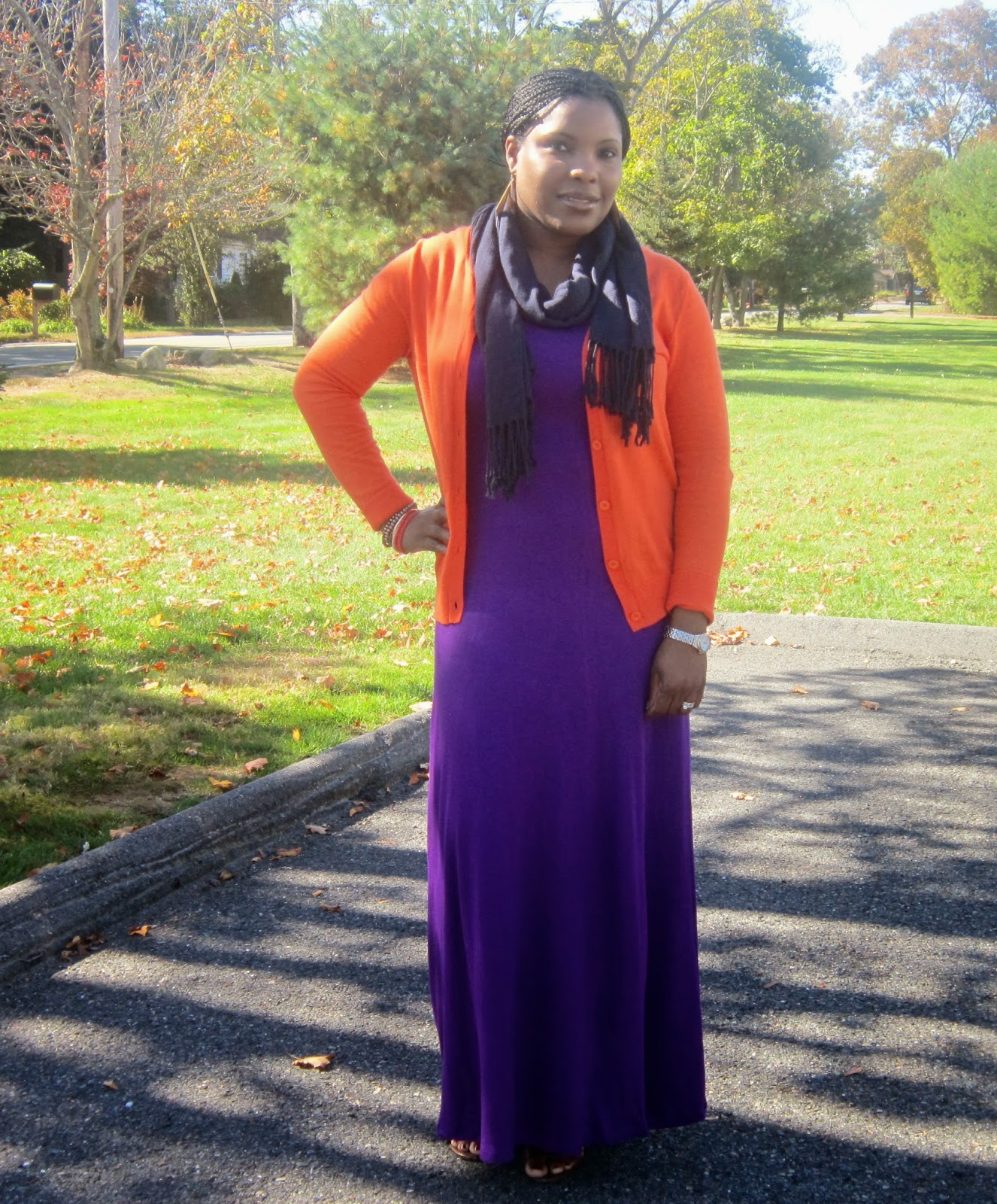 Orange Cardigan, Purple maxi dress, Old navy