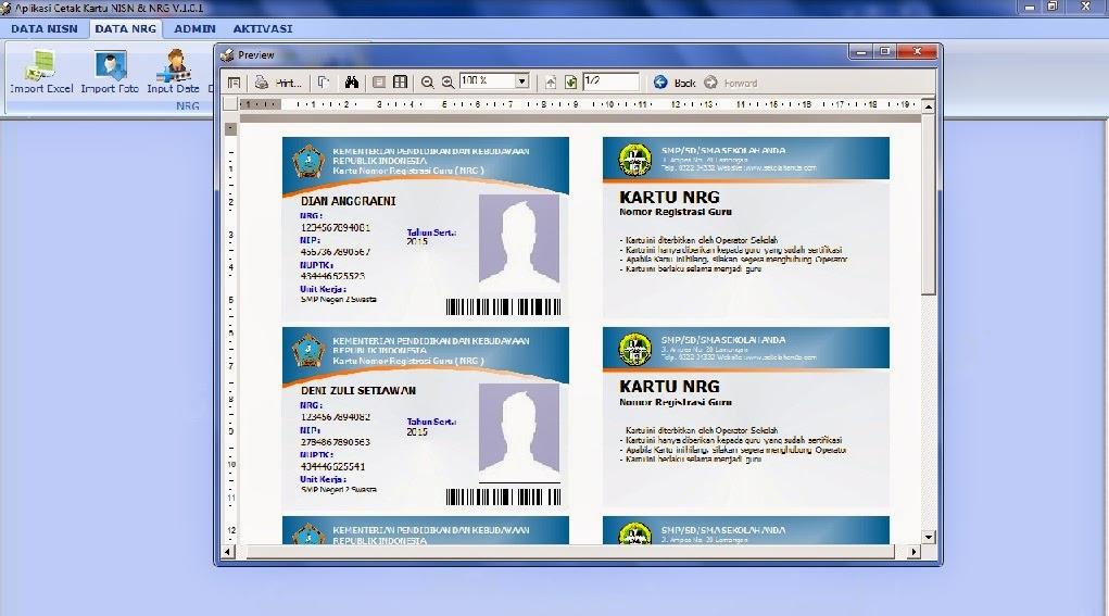 aplikasi kartu NRG