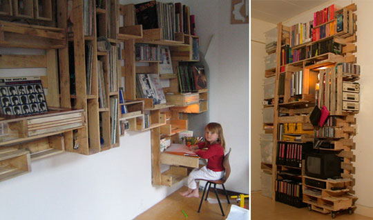 31 days of organizing fun day 25 pallets organizing - Fabriquer un bureau en palette ...
