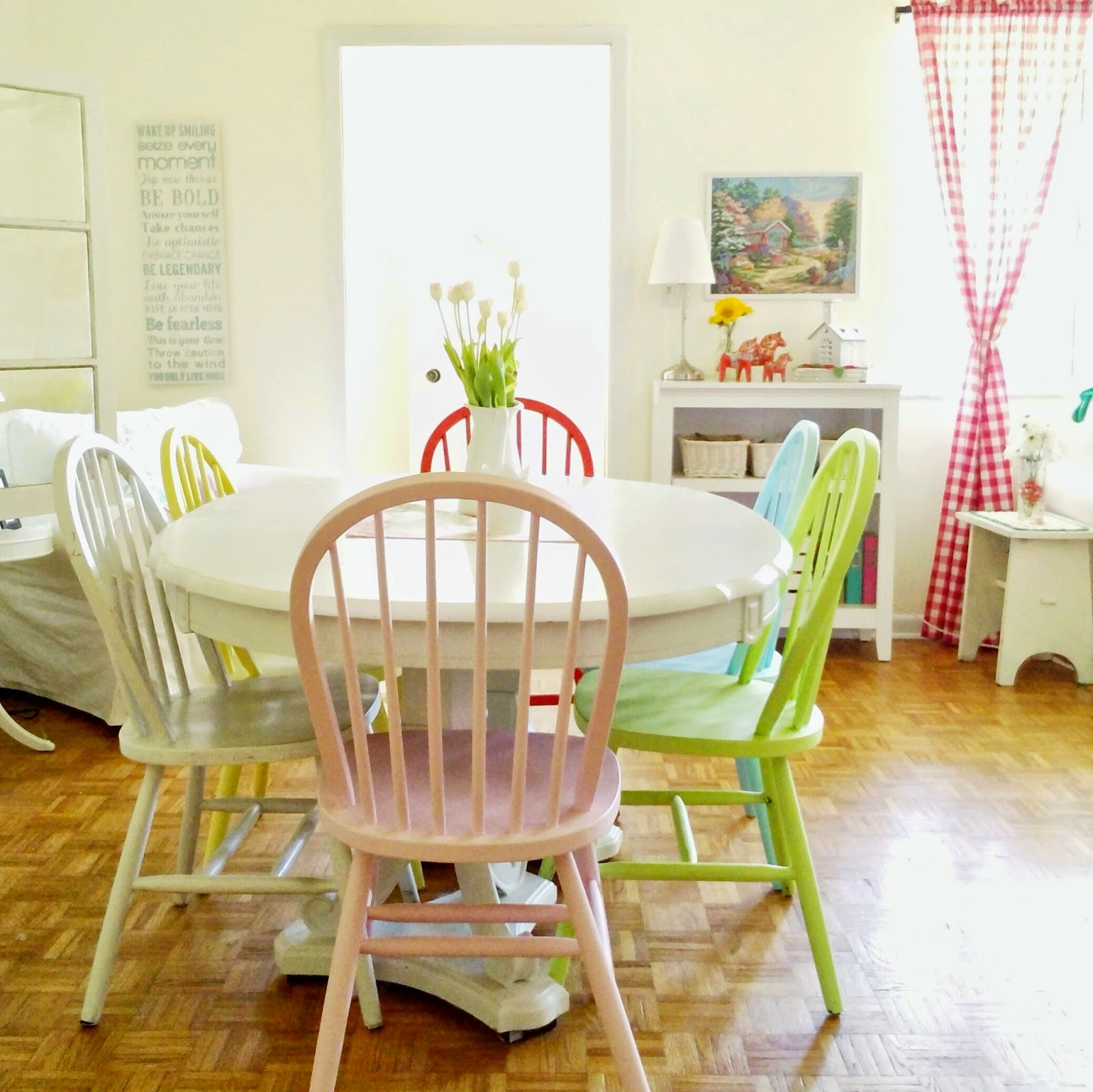 Hopscotch lane colorful dining room chairs for Colorful dining chairs