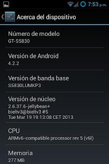 Para aquellos que quieran tener Android 4.2.2 Jelly Bean en su Samsung Galaxy Ace, ya es posible, gracias a los desarrolladores de la comunidad Android, por traer el port de la rom CyanogenMod 10.1. Esta rom es un port de la oficial de CyanogenMod 10.1 hecho por bieltv.3, miembro de XDA Developer. En este momento esta en una fase de desarrollo final, es estable, pero no libre de errores. Lo que funciona: GPS Vista previa de cámara y toma de fotografías Grabación de vídeo Play Store Gmail Wifi Datos móviles Audio Booteo Aceleración por Hardware USB – Almacenamiento masivo Bluetooth