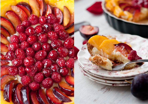 ... Free Peach, Plum, Raspberry Tart with Cardamom Cream and Almond Crust