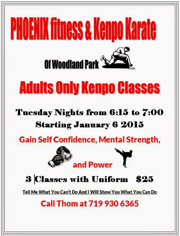 Tuesday Nights from 6:15 to 7:00 Starting January 6 2015  Gain Self Confidence, Mental Strength, and Power,