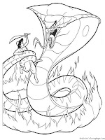 Aladin Against Demon Snake Anime Coloring Pages