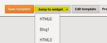 Jump to widget in blogger HTML editor