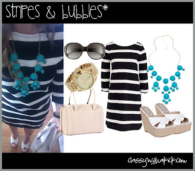 J. Crew Striped Dress and Bubble Necklace Kate Spade
