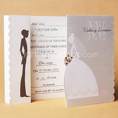 invitacin de boda original con novios que abren la tarjeta
