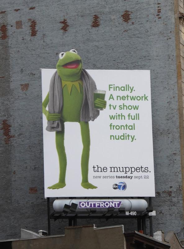 Muppets Kermit Full frontal nudity billboard NYC
