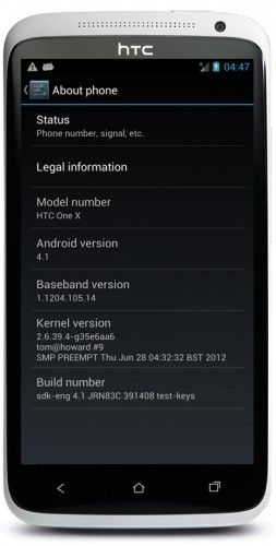 HTC One X Android 4.1