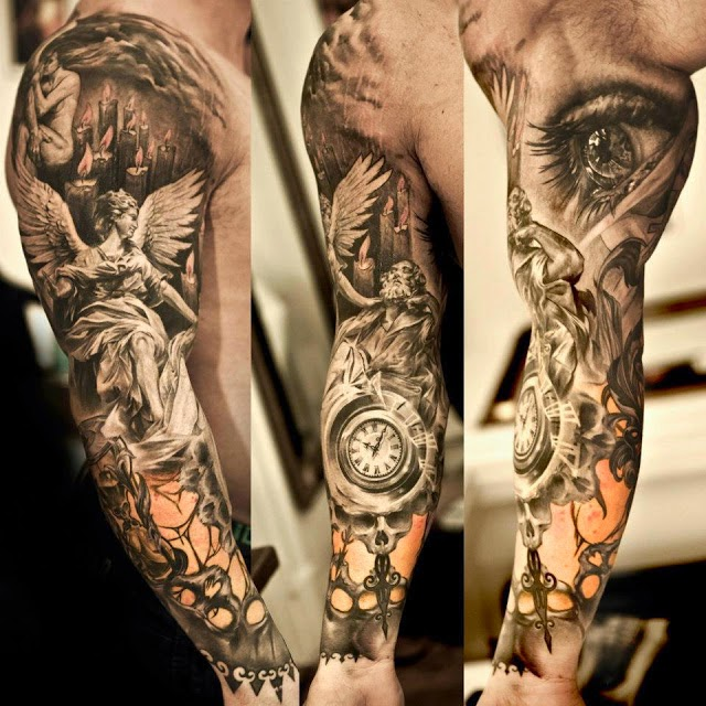 Sculptor of time tattoos on arms