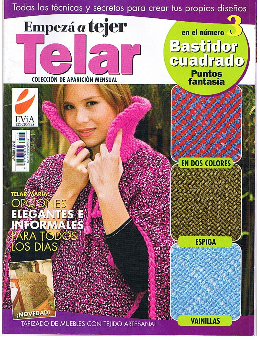Tejidos y Telares: Punto en dos colores, telar cuadrado