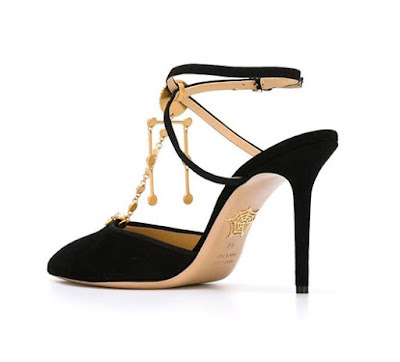 Charlotte Olympia black ankle strap high heeled pumps with golden sun embellishment