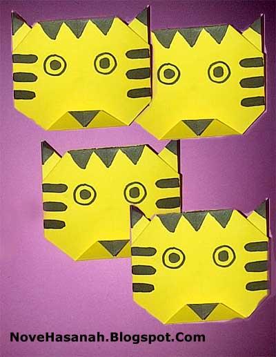 cara melipat kertas origami harimau untuk anak-anak