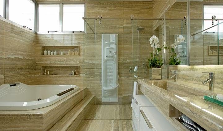 Banheiros com Banheiras! 30 Modelos maravilhosos!  DecorSalteado -> Gabinete De Banheiro Travertino