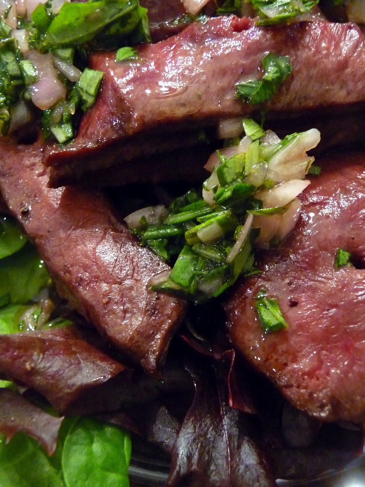 Grilled Beef Heart With Herbed Vinaigrette Recipe — Dishmaps