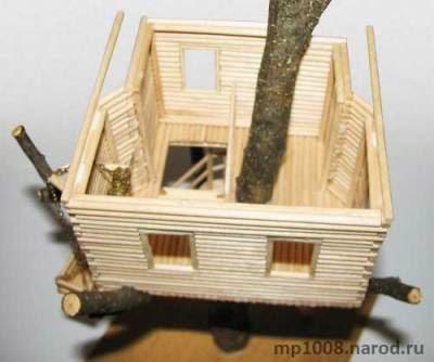 Домик на дереве. Поделки из спичек
