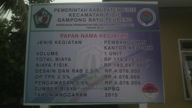 Papan Proyek Kantor Desa Gampong Teubeng Bayu Kec. Pidie Kab. Pidie-Aceh.