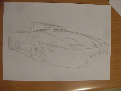 draw ferrari step by step pencil