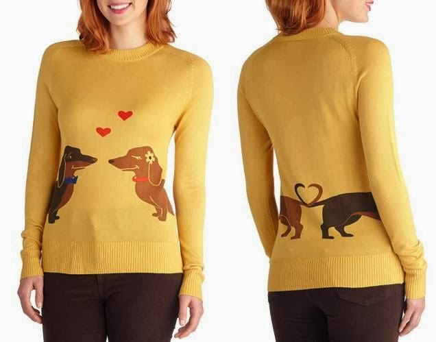 Modcloth, Modcloth.com, weiner dog sweater, dachshund sweater, Wiener Takes it All, yellow sweater, jumper, shirt, Bea and Dot, long sleeves, doggie love, doggy, puppy