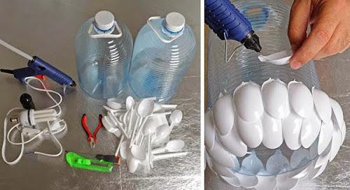 CARA MEMBUAT LAMPU HIAS DARI BOTOL PLASTIK BEKAS DAN SENDOK PLASTIK