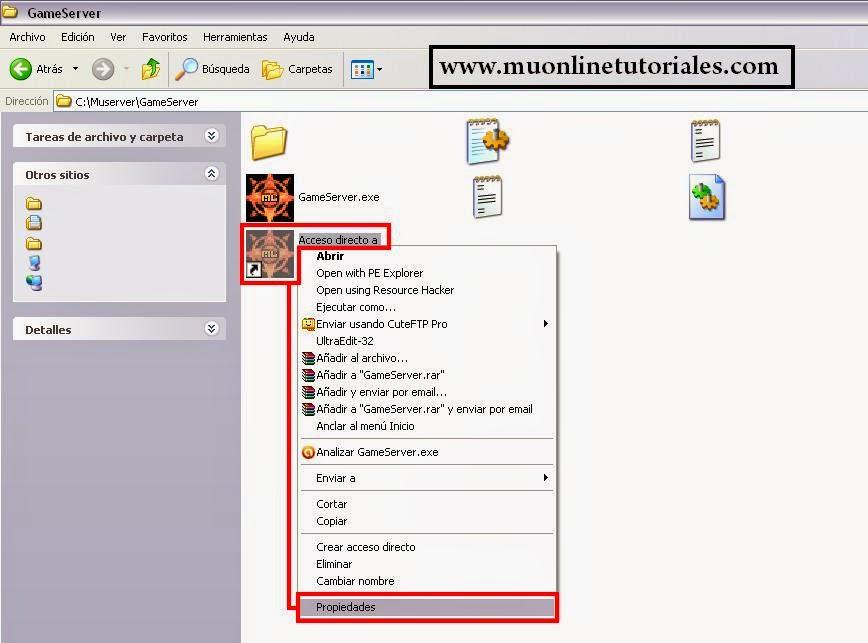 Acceso directo al gameserver Mu Online