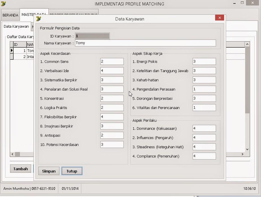 Sourcecode Delphi7 - Evaluasi Kinerja Karyawan Untuk Promosi Jabatan Menggunakan Profile Matching