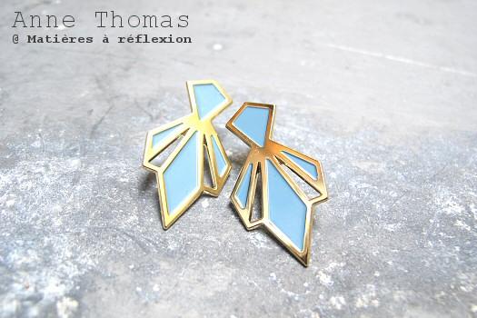 Boucles d'oreilles Anne Thomas bijoux bleu gris