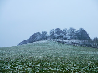 Snow covered hillside near the Uffington White Horse on the Ridgeway National Trail