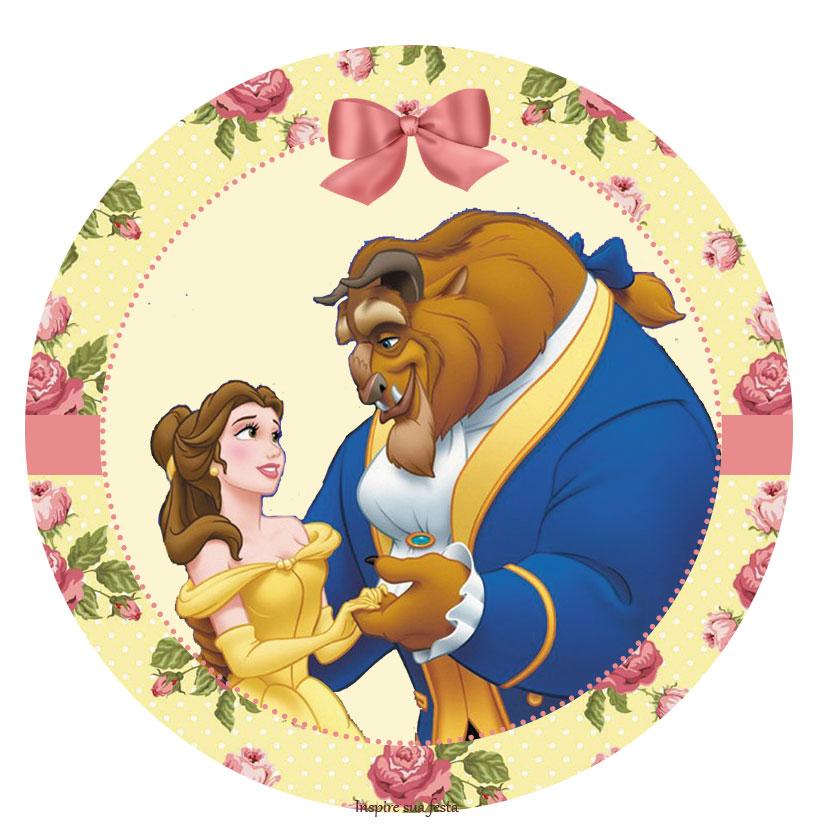 Cake Topper Disney La Bella Y La Bestia : La Bella y la Bestia con Rosas: Wrappers y Toppers para ...