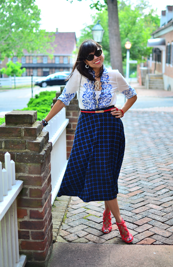 PLAID FULL SKIRT STREET STYLE