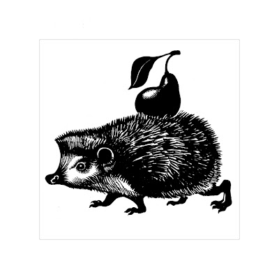 cute hedgehog carrying a fruit (funny black and white drawing)